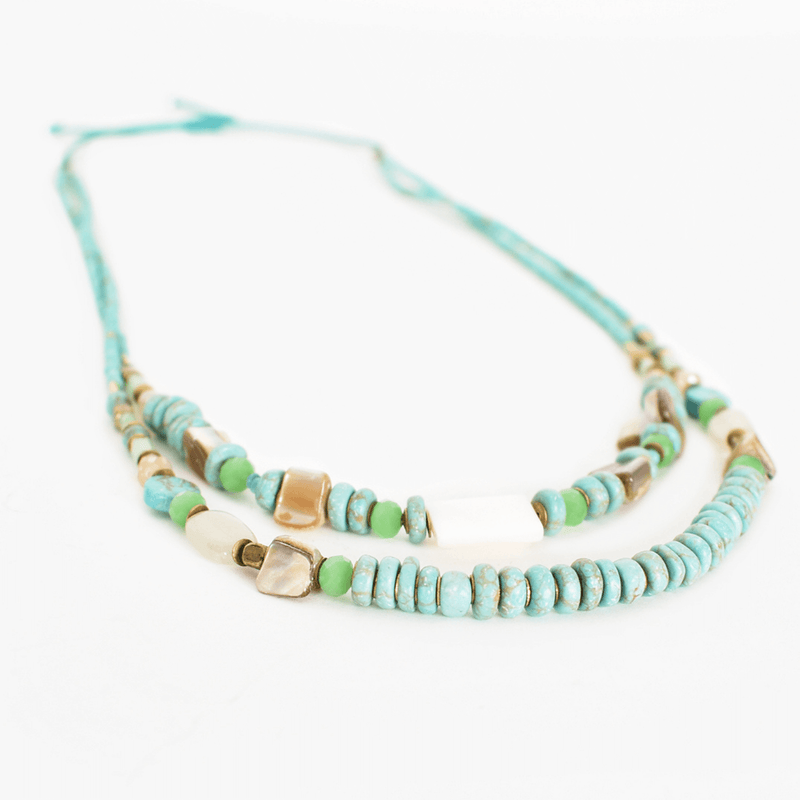 Shell Stone Chips Layered Necklace
