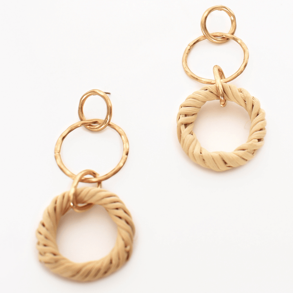Rattan Ring Drop Earrings