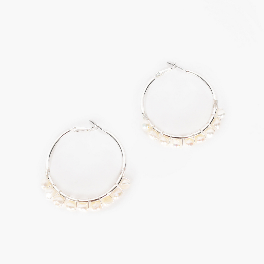 Wired Freshwater Pearl Hoops