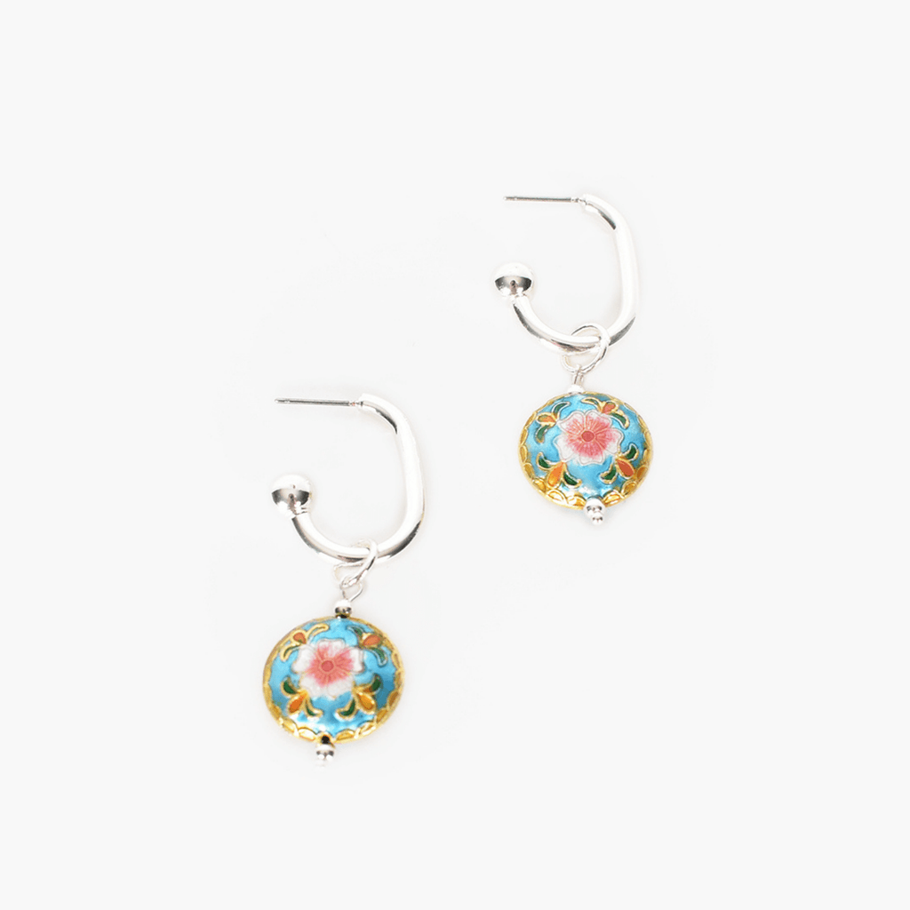 Cloisonne Drop Oval Hoop Earrings