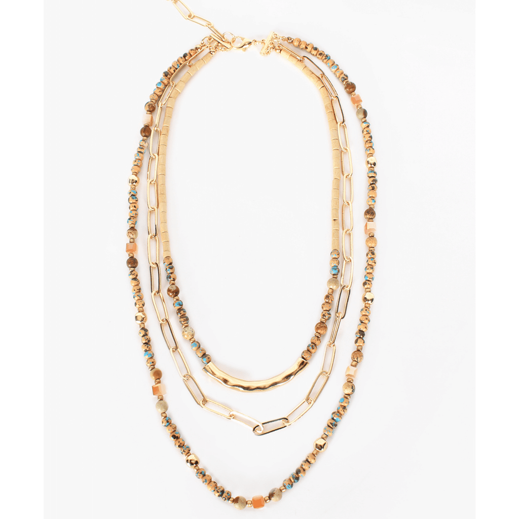 Layered Stone Chain Necklace