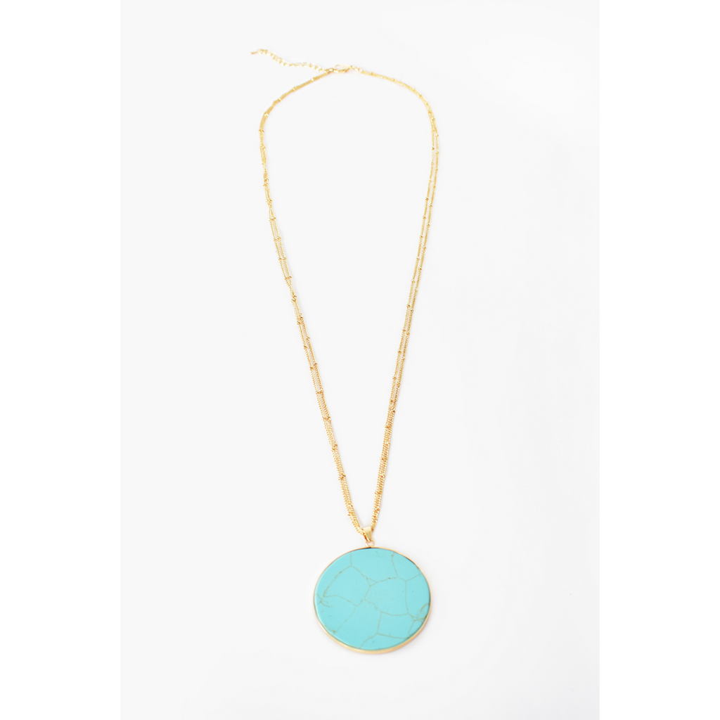 Round Stone Pendant Long Necklace