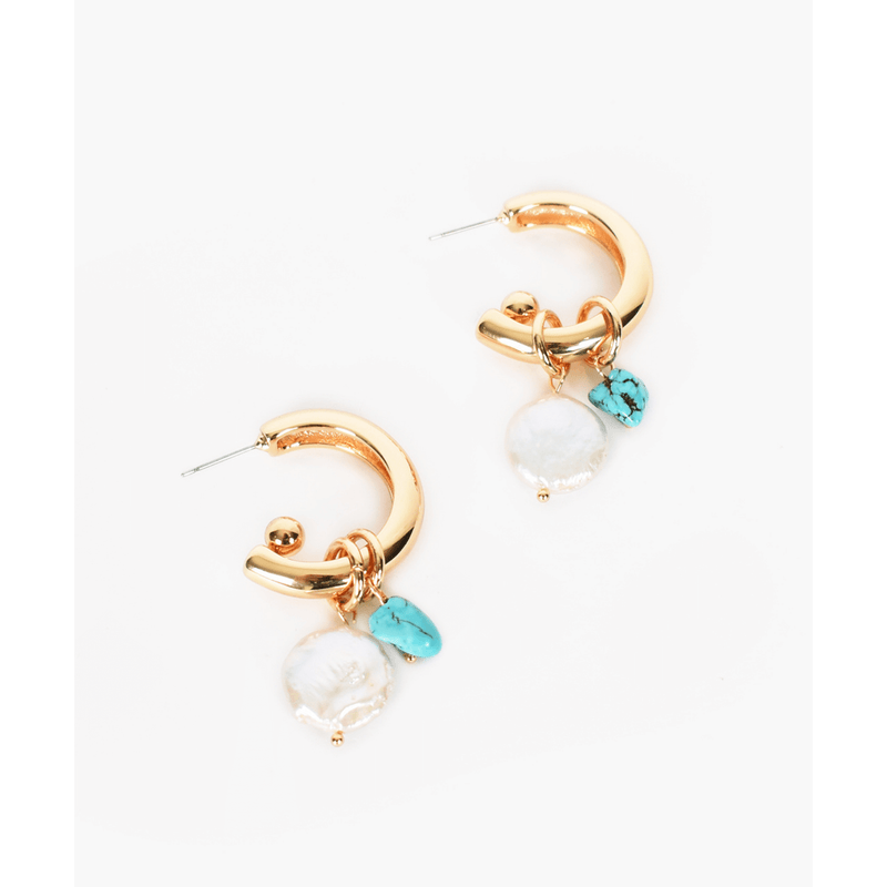 Pearl Stone Mix Drop Earrings