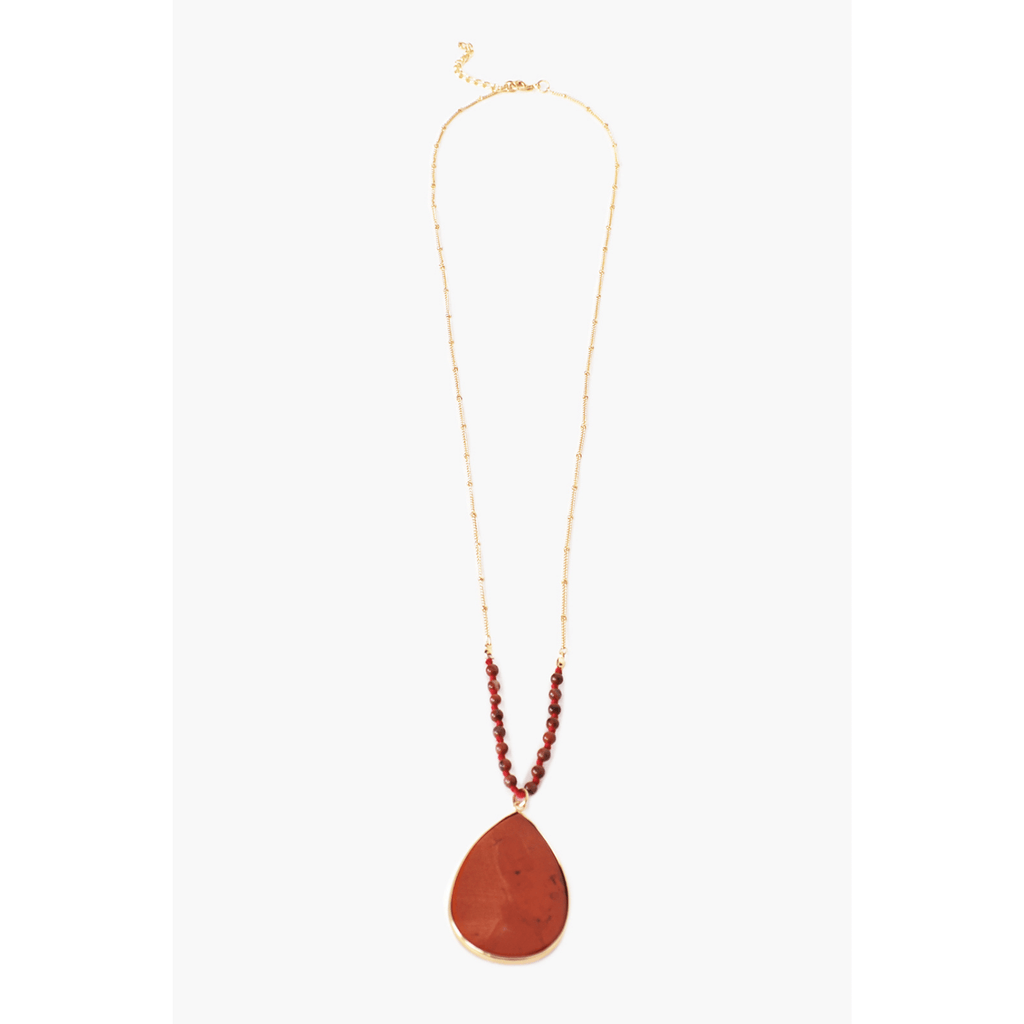 Bead Stone Teardrop Long Necklace