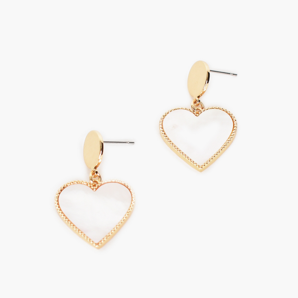 Metal Top Shell Heart Drop Earrings
