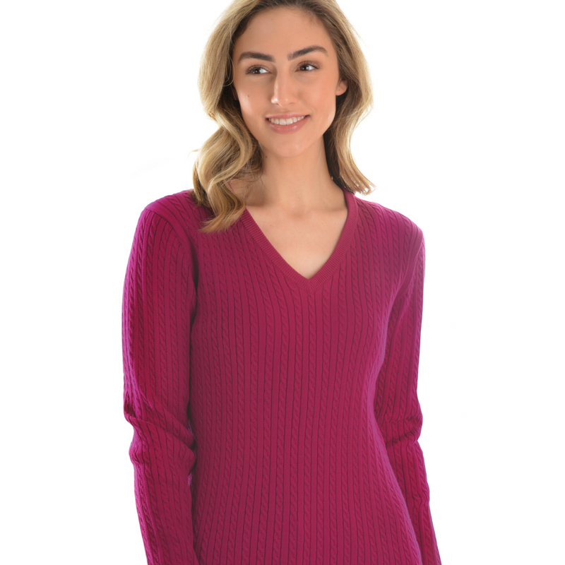 V-Neck Fine Cable Jumper - Vault Country Clothing