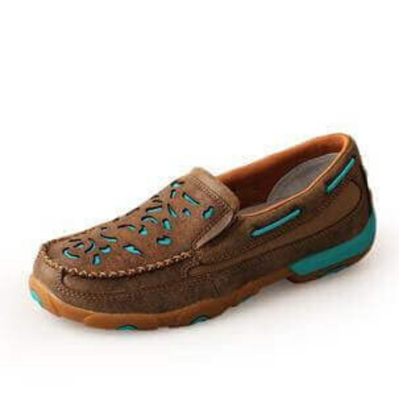 Women's Turquoise Cut Out Mocs slip on - Vault Country Clothing