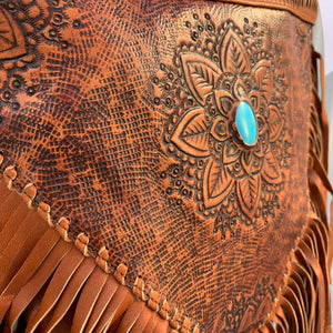 Hand Tooled Detailed Flower & Fringe Bag - Vault Country Clothing