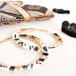 Beaded Edge Hoop Earrings - Vault Country Clothing