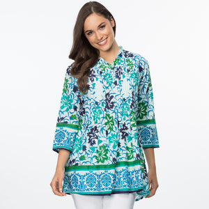 Pintuck Cotton Border Print Top - Vault Country Clothing