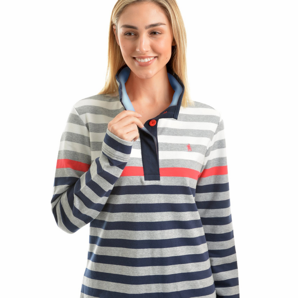 Isabella Stripe Button Up Rugby - Vault Country Clothing
