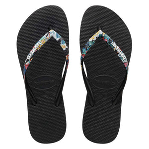 Slim Strapped Logo (Floral) Black Thongs