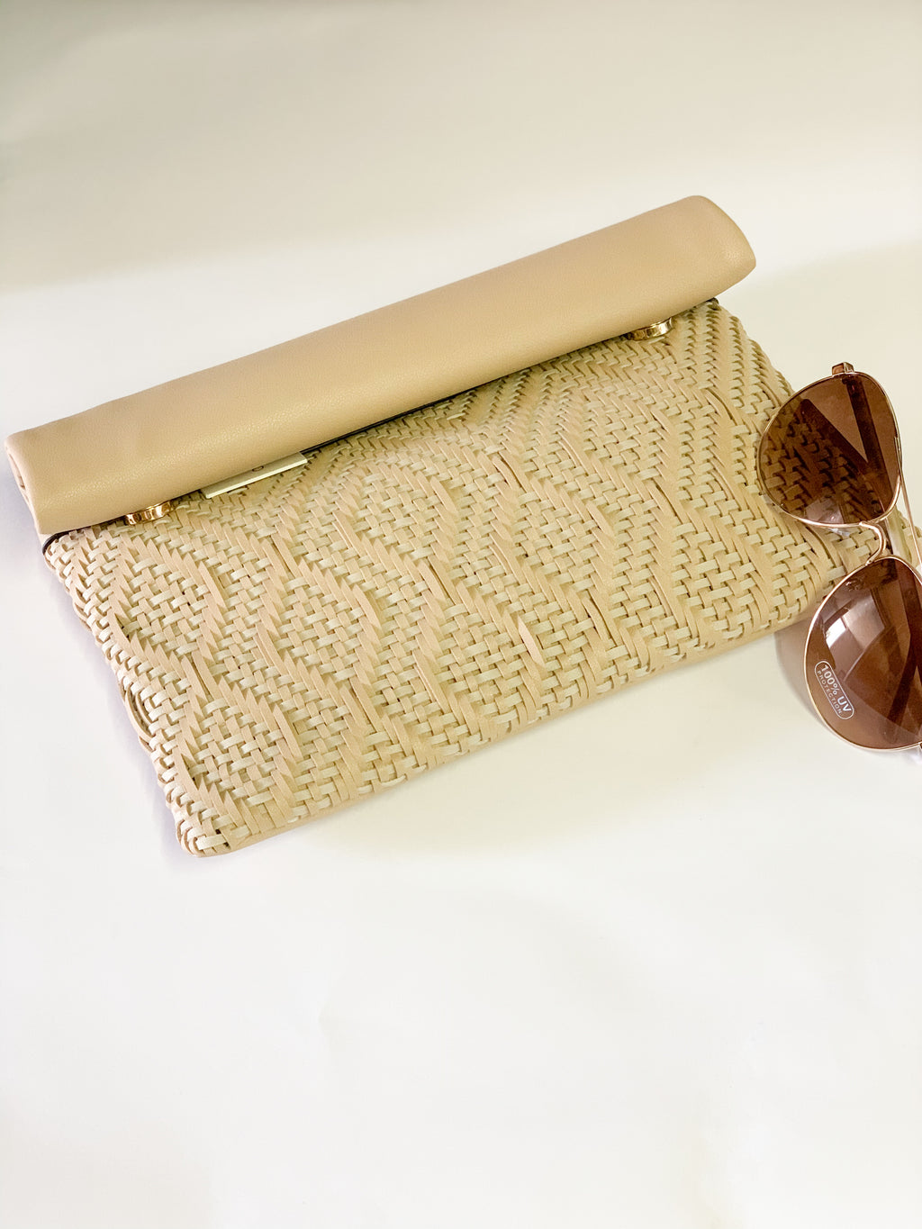 Woven Nude Clutch