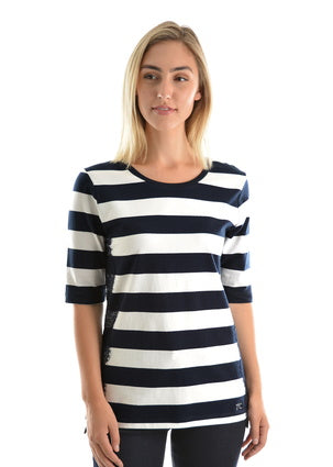 Lace on Stripe Top - Vault Country Clothing
