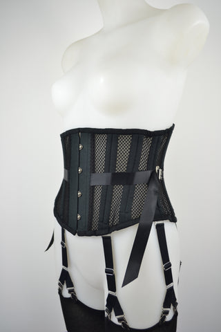 retro lingerie vintage lingerie fan laced corset in black mesh plus size ethical steel boned corset by pip and pantalaimon
