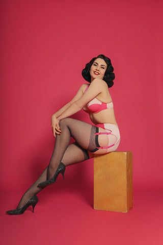 pink cupid retro lingerie pin up lingerie vintage lingerie underwired bra plus size six strap suspender belt, garter belt, panties knickers briefs in bright pink. pip and pantalaimon underwear made in the uk