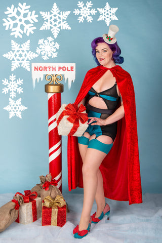 retro lingerie vintage lingerie christmas underwear by pip and pantalaimon, available in plus size, made in the uk, ethical and sustainable lingerie