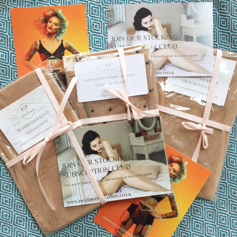 monthly seamed stocking subscription club by pip and pantalaimon retro and vintage inspired lingerie