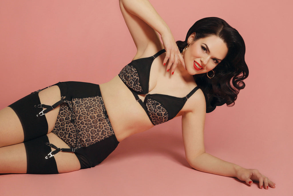 LEOPARD print lingerie, y strap garter belt  strap suspender belt, panties knickers, front fastening soft bra. available in plus size made in the uk by Pip & Pantalaimon