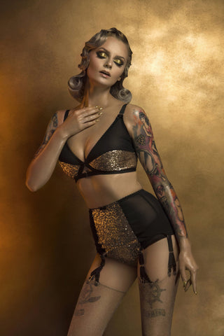 gold sequin burlesque pin up lingerie underwear by pip and pantalaimon y strap suspender garter belt. valentines lingerie made in the uk