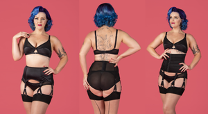 Black Classic vintage and retro inspired lingerie by Pip & Pantalaimon
