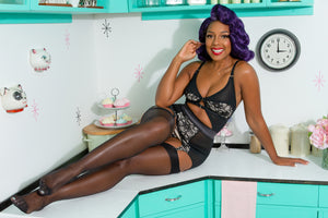 vintage lingerie retro underwear y strap suspender garter belt  metal clips, made in the UK by Pip and Pantalaimon. Seamed stockings, fan laced corsets, corselettes girdlettes nude lingerie corselette shapewear underpinnings foundations reproduction