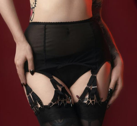 webbed suspender garter y straps. detachable, removeable and adjustable steel suspender straps with a metal hook to attach to stockings