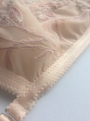 sheer tulip embroidery soft bra, suspender belt and classic cut knicker by Pip and pantalaimon retro and vintage inspired lingerie