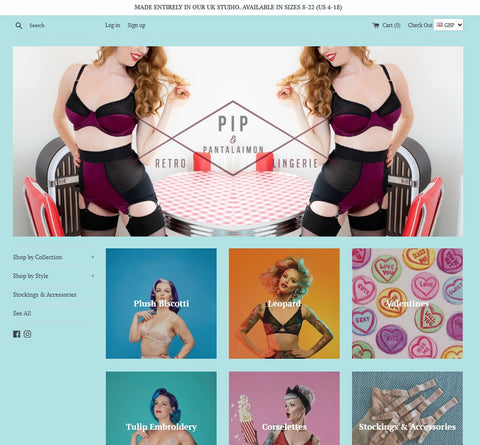 New Pip & Pantalaimon retro vintage pin up lingerie website plus size ethical made in the uk underwear