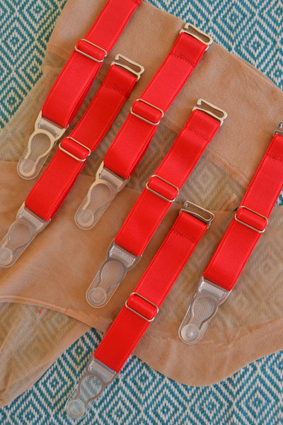 RED  ADJUSTABLE detachable suspender garter clips with hook for stockings. retro and vintage lingerie by Pip & Pantalaimon