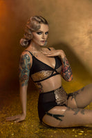 gold sequin burlesque peep bra. front fastening. vintage and retro inspired plus size lingerie by pip and pantalaimon