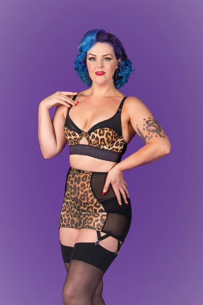 leopard print underwired bra and long line girdle. retro and vintage inspired lingerie by pip and pantalaimon. Available in plus size