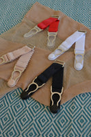 short detachable suspender garter clips with hook for stockings. retro and vintage lingerie by Pip & Pantalaimon V STRAPS
