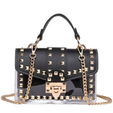 Black Onyx - Studded Transparent Leather Satchel - Blue Specs & Co.
