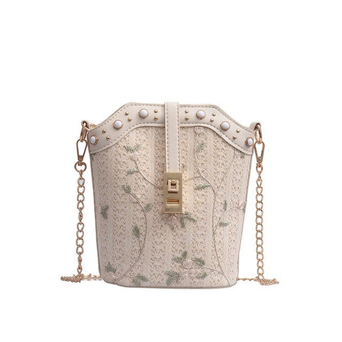 Shih - Embroidered Straw Crossbody - Blue Specs & Co.