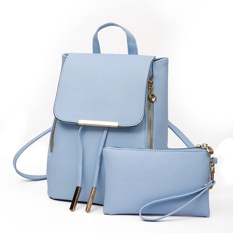 Nuisance - Leather 2Pc Backpack Clutch - Blue Specs & Co.