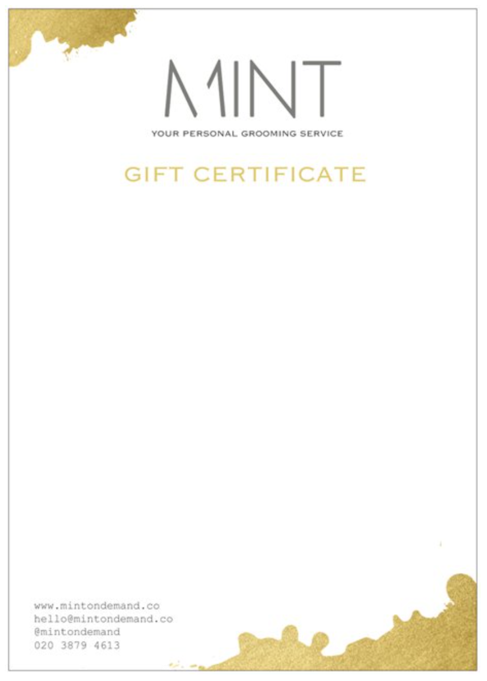 MINT Gift Certificates
