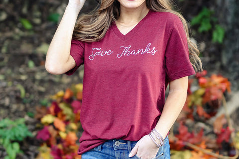Give Thanks V Neck Tee (preorder)