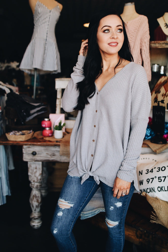 The Roni Top // Light Grey