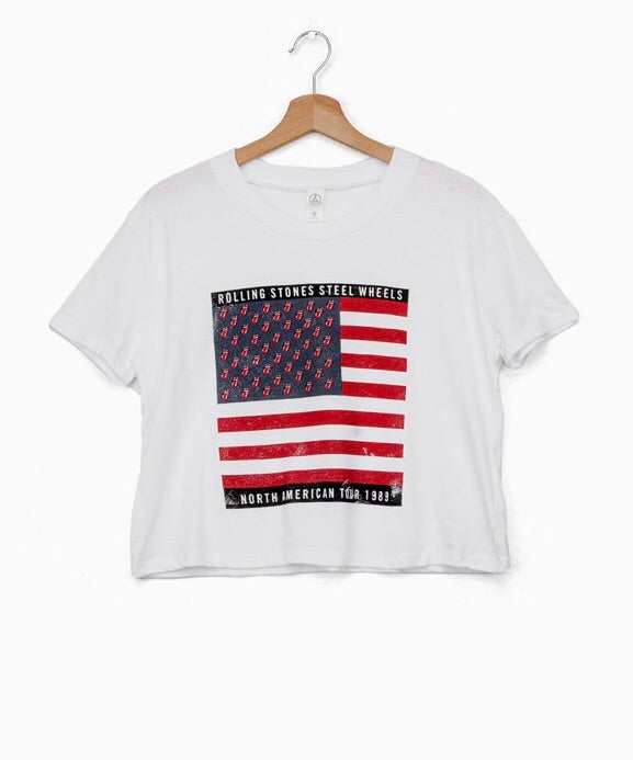 Rolling Stones Steel Wheels Flag White Cropped Tee // Preorder