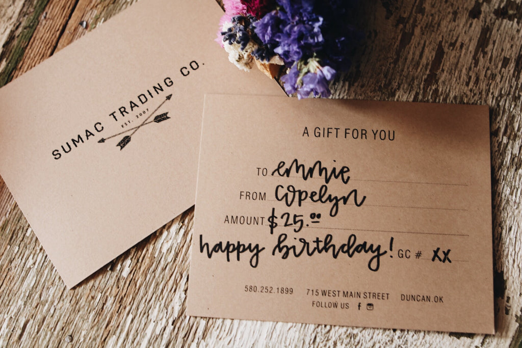 Gift Certificate // PHYSICAL PAPER