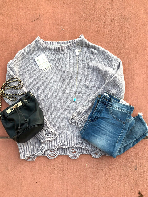 The Reba // Shredded sweater