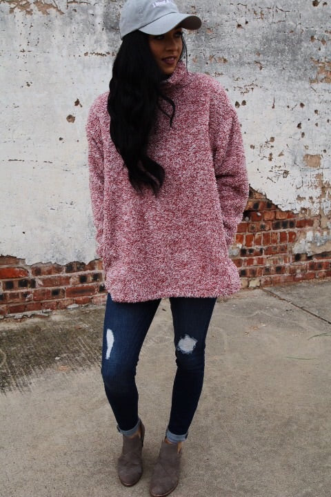 The Fuzzy Pullover // Red