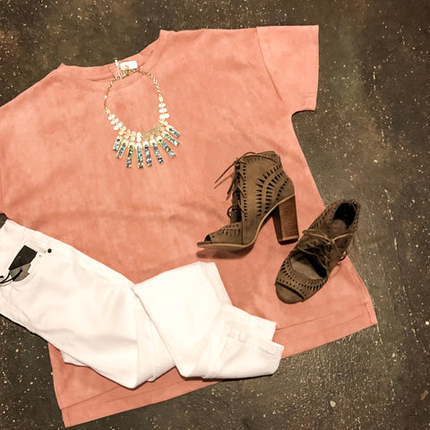 The Isla Suede Top // Blush