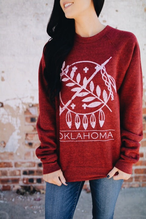 The Oklahoma Shield Sweatshirt // Adult Maroon