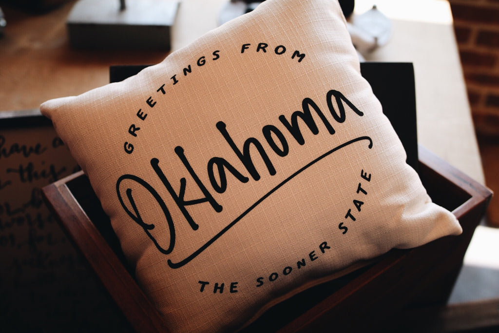 Oklahoma Greetings Pillow