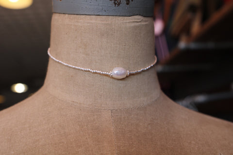 silver bead with pearl choker