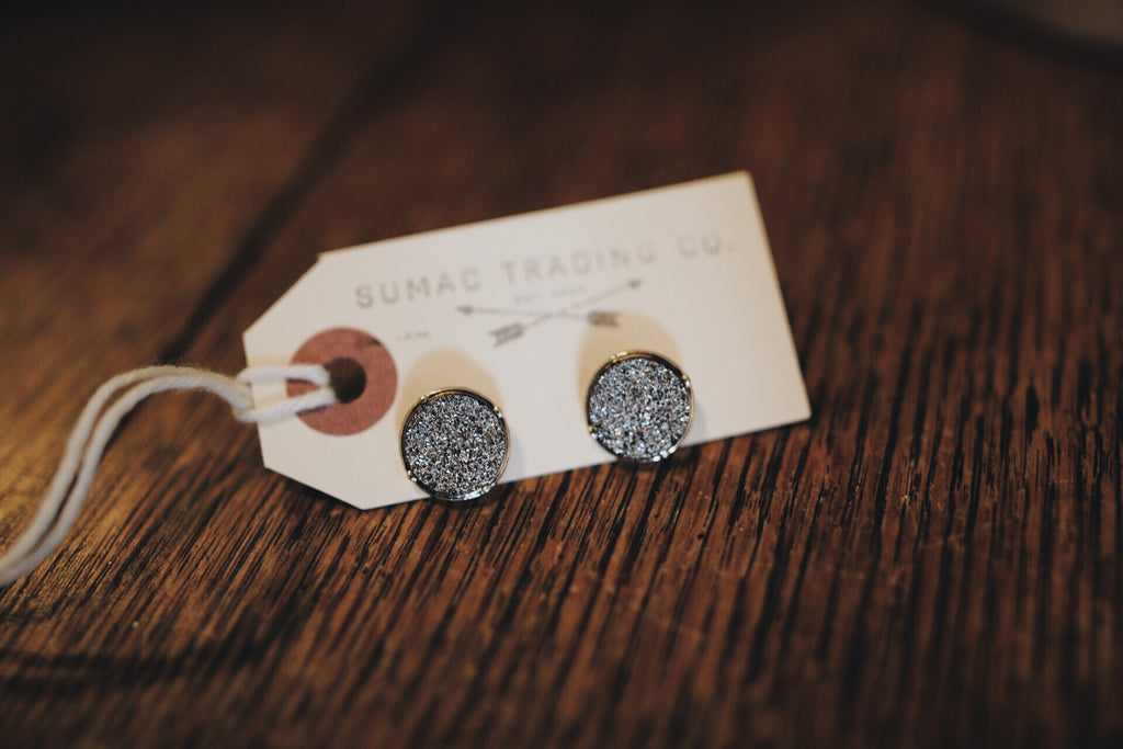 Druzy Earring // Dark Gray