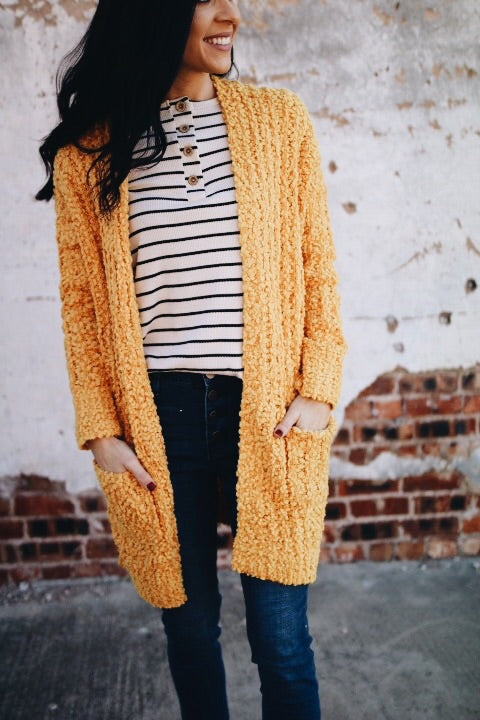 The Perry Cardigan // Mustard