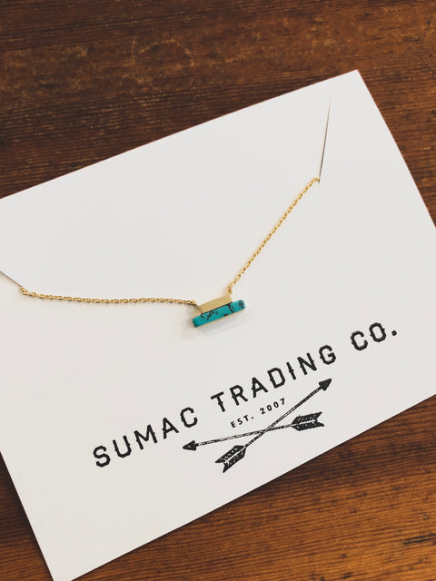 Mini turquoise bar necklace
